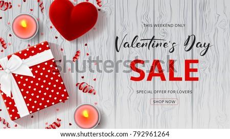 Happy Valentines Day Sale Promo Web Stock Vektorgrafik 792961264