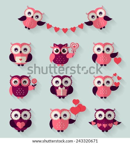 Happy Valentine's Day! Set of cute flat owls for love and romantic design. Vector icons with long shadow. - stock vector