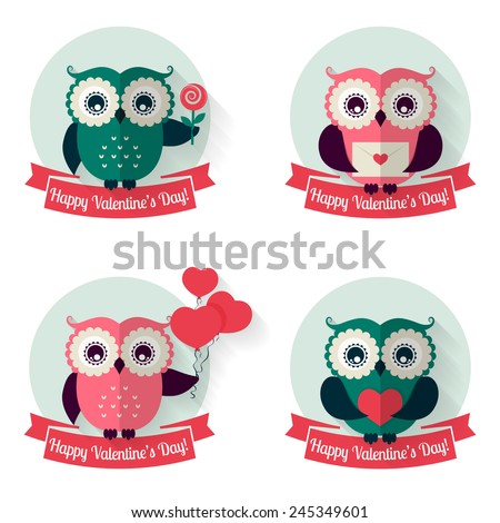 Happy Valentine's Day! Set of labels with cute owls and ribbons. Collection of design elements isolated on white background. Flat style. Vector illustration. - stock vector