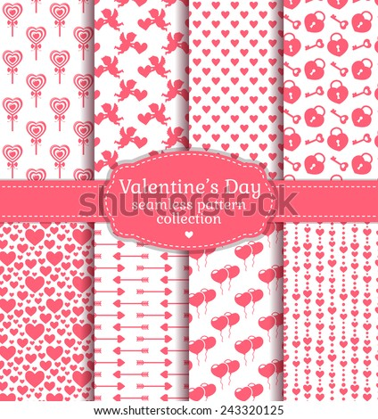 Happy Valentine's Day! Set of love and romantic backgrounds. Collection of seamless patterns with white and pink colors. Vector illustration.