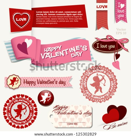 Happy Valentine's day set with banners, badges, icons, amor - stock vector