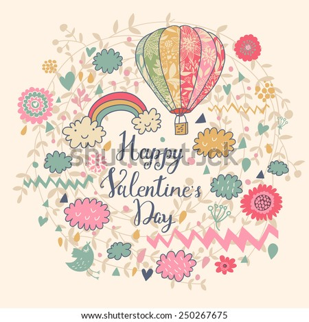 Happy Valentine's Day. Stylish vector card in vintage colors with rainbow, clouds, bird, air balloon, text and hearts - stock vector