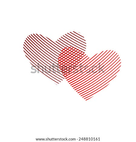 Happy Valentine's Day. two striped heart. Vector - stock vector