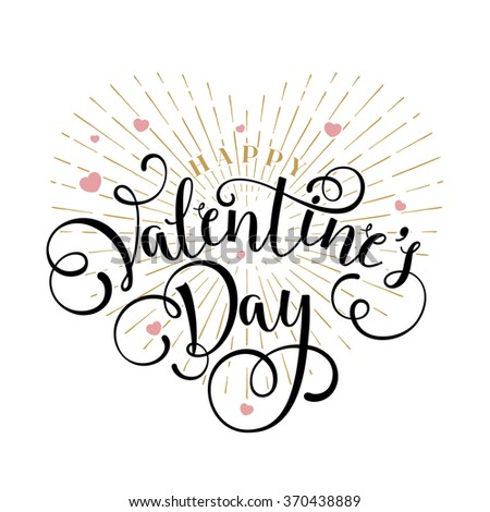 Happy Valentine's Day Typographical Background, Handmade Calligraphy. - stock vector
