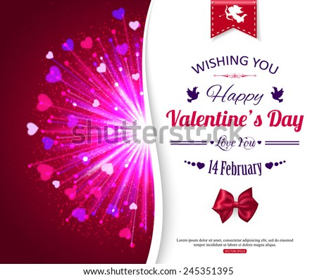 Happy Valentine's day typographical glow holiday background with shining fireworks, blurred bokeh lights, red bow and place for text. - stock vector