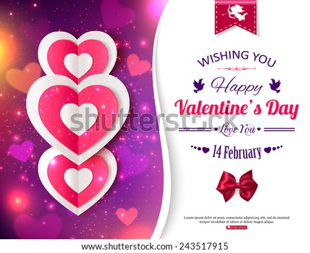 Happy Valentine's day  typographical glow holiday background with shining soft hearts, blurred bokeh lights, photorealistic red bow, paper hearts and  place for text. - stock vector