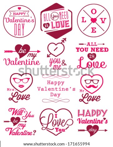 Happy Valentines Day Vector Badges Labels Stock Vector 171655994 ...