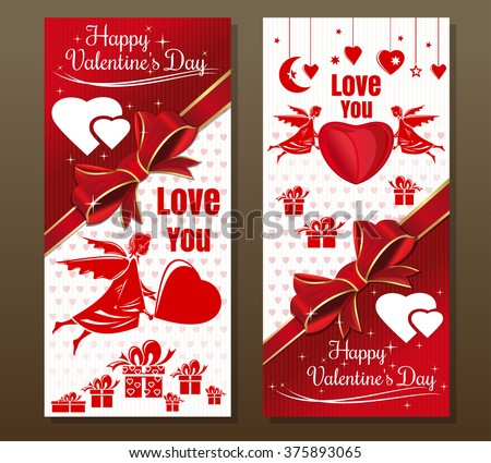 Happy Valentine's Day.  Vintage greeting card with angel, red ribbon and bow. Red-white flyer to the Valentine's day. Vector flyer template. - stock vector