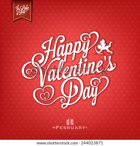 Happy Valentine's Day Vintage Hand Drawing Background With Hearts - stock vector