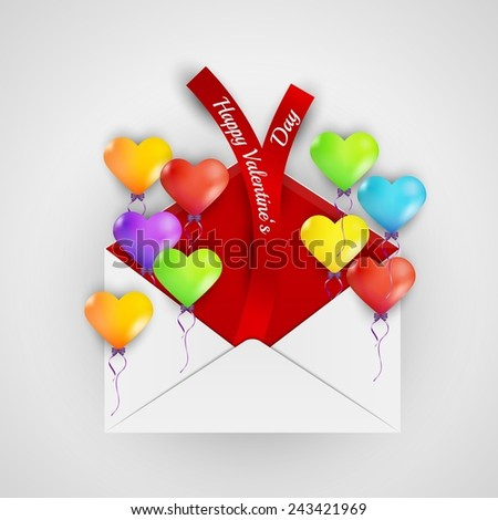 happy valentine`s day with color balloons hearts and envelope with ribbons - stock vector