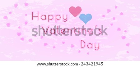 happy valentine's day with hearts on pink background - stock vector