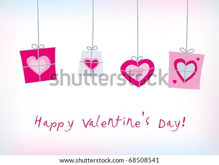 Happy valentines card with decorative gifts