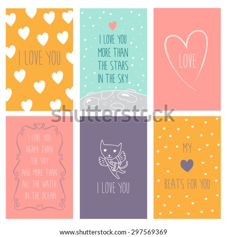 Happy valentines day and wedding cards with hearts and cat. - stock vector