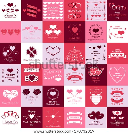 Happy Valentines Day And Weeding Cards - Isolated On Background - Vector Illustration, Graphic Design Editable For Your Design.   - stock vector