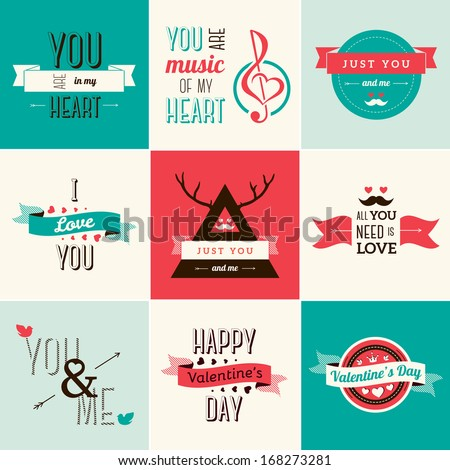 Happy valentines day and weeding cards. Vector illustration. Typographical Background With Ornaments, Hearts, Ribbon and Arrow. - stock vector