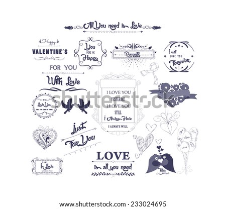 Happy valentines day and weeding design elements - stock vector