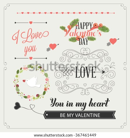 Happy valentines day and weeding design elements. Vintage labels and ribbon retro style set. Vector elements. - stock vector