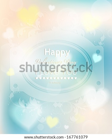 Happy Valentines Day background with hearts. Vector  love heart