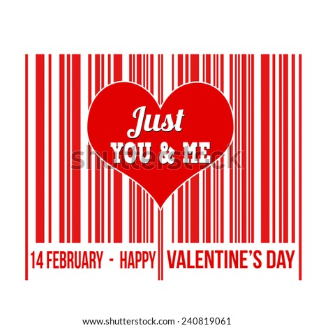 Happy Valentines Day barcode with heart inside on white background, vector illustration - stock vector
