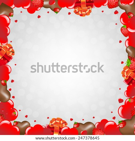 Happy Valentines Day Border With Gradient Mesh, Vector Illustration - stock vector