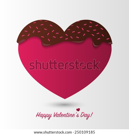 Happy Valentines Day card. Chocolate heart. Vector