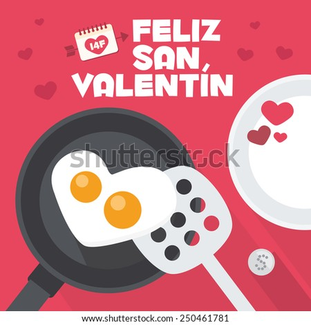 Happy Valentines day card. Cooking an Heart Shaped Fried Egg. Romantic breakfast - stock vector