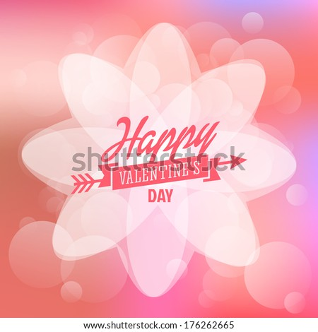 Happy Valentines day card design elements, template with blur bokeh background - stock vector