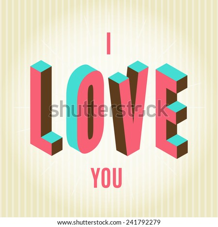 Happy Valentines day card, i love you, font type vector illustration - stock vector