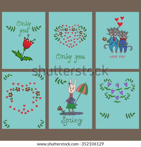 Happy Valentines Day card set,hand drawn.EPS8. valentine card, valentines day card set, valentines day card vector,valentines set.spring vector,spring vector background, spring card vector,card vector - stock vector