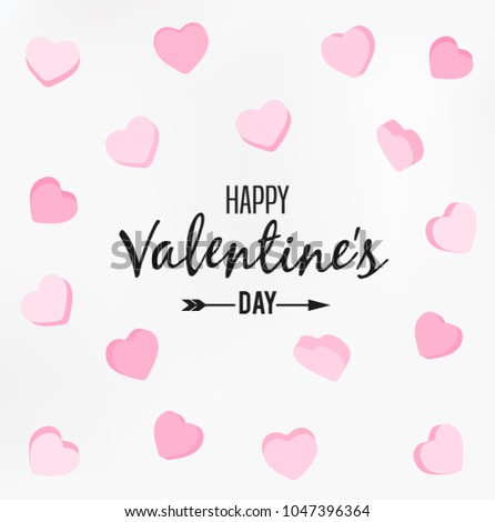 Happy Valentines Day Card Typography Background Stock Vector