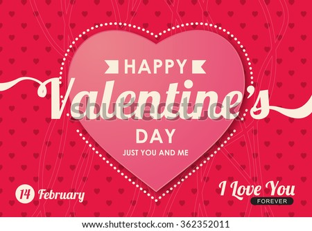 Happy Valentines day card ,vector illustration - stock vector