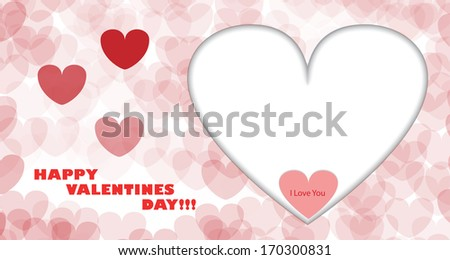 Happy Valentines Day Card with Big White Heart, Small Red Heart and I Love You Text in it. Full eps10 vector with shadows. - stock vector