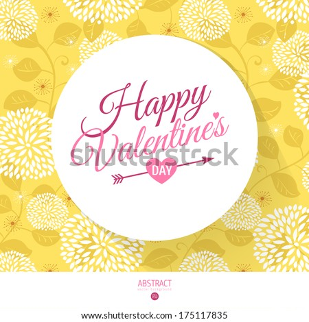 Happy Valentines day card with calligraphy and flowers pattern - stock vector