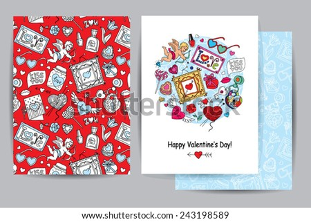Happy valentines day card with cartoon pattern, hearts and cupids - stock vector