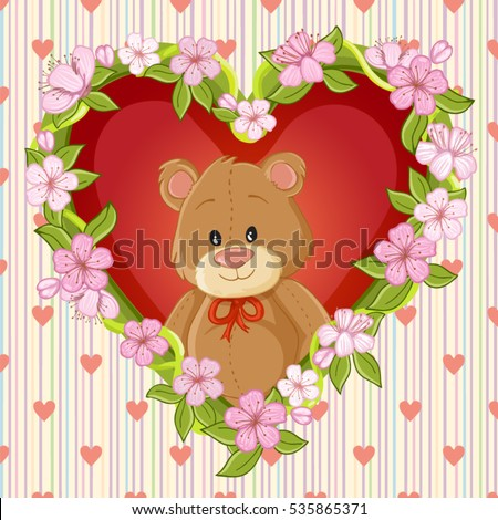 Happy Valentines day card with cute teddy bear and flower heart