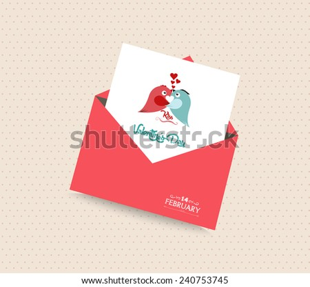 happy valentines day card with envelope heart and bird - stock vector