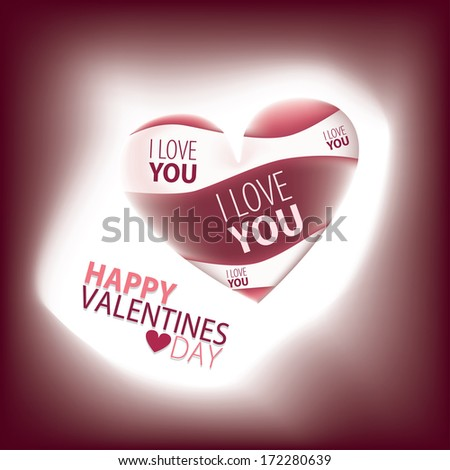Happy Valentines Day Card with Heart in white and pink tones. Composition glows and spread light out of its boarders - stock vector