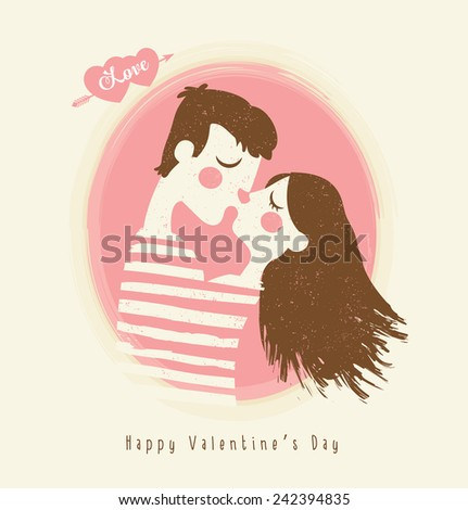 Happy Valentines day card with young couple kissing  - stock vector