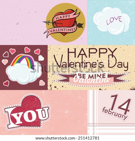 Happy Valentines Day Cards. Collection of vector elements with retro vintage styled design - stock vector