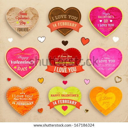 Happy Valentines Day Cards Set For Vintage Holiday Labels Design. Retro  Paper Textures. Vector