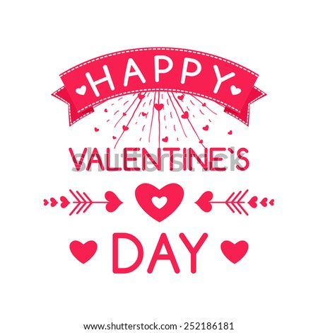 Happy Valentines day cards with ornaments, hearts, arrows,  frame. typography vector - stock vector