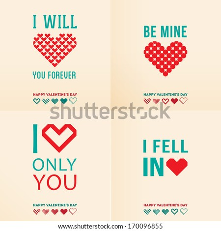 Happy valentines day cards with ornaments, hearts. I love you, font type - stock vector