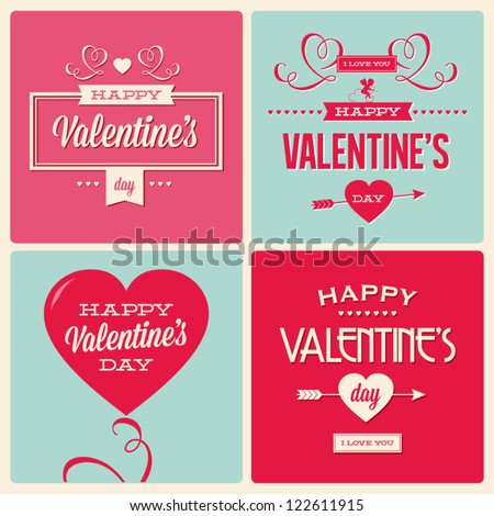 happy valentines day cards with ornaments, hearts, ribbon, angel and arrow - stock vector
