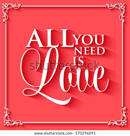 Happy valentines day cards with ornaments, hearts, ribbon, angel and arrow/ All you need is love. Happy Valentine's Day Hand Lettering - Typographical Background - stock vector