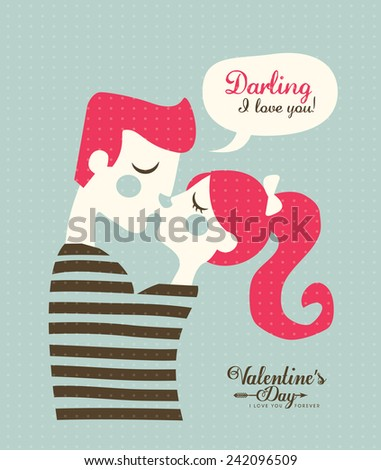 Happy Valentines day cards with young couple kissing - stock vector