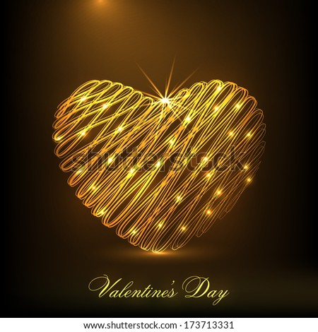 Happy Valentines Day celebration concept with golden heart on shiny brown background.  - stock vector
