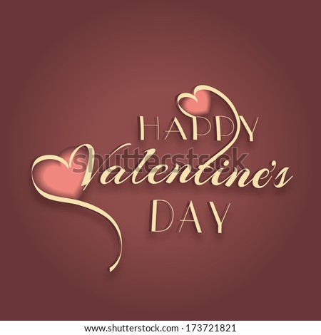 Happy Valentines Day celebration concept with golden text Happy Valentines Day and heart shape on brown background.   - stock vector