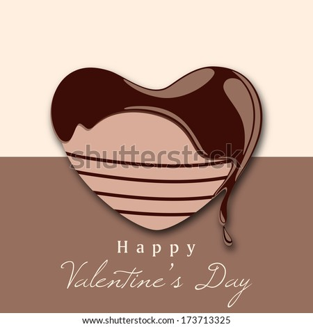 Happy Valentines Day celebration concept with stylish heart shape decorated by melt chocolate on abstract background.  - stock vector
