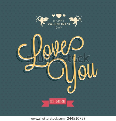 Happy Valentines Day celebration greeting card design with text Love You on seamless blue background. - stock vector