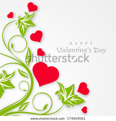 Happy Valentines Day celebration greeting card with pink heart shapes plant and green leaves on grey background, can be use as flyer, banner or poster.